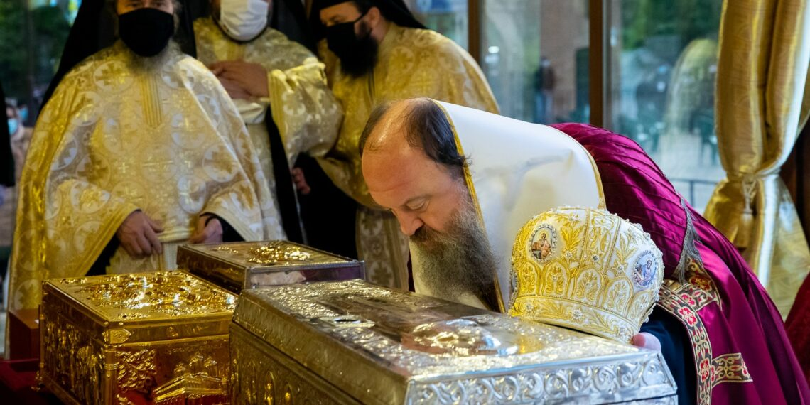 Relics of Saint Demetrios the New placed for veneration outside Patriarchal Cathedral for three-day celebration