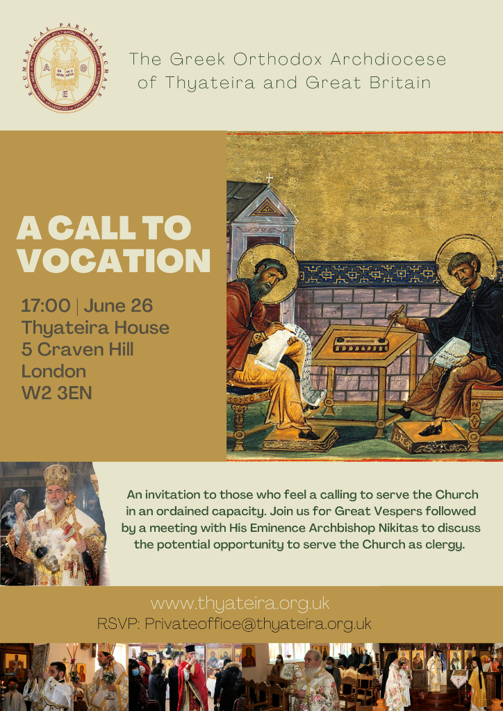 A call to vocation by the Archdiocese of Thyateira